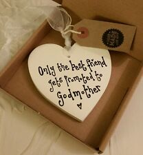 Godmother Best Friend Gift Handmade Heart plaque sign boxed ivory 10cm
