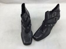 Harley Davidson Black Leather Side Zip Booties Size 11M  F4578/