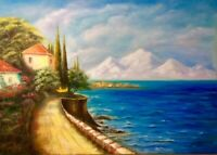Original seascape oil painting beach road trees blue sea home landscape canvas