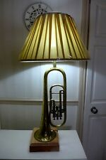 Table lamp made from vintage brass trumpet C.Mahillon Bruxelles playroom music