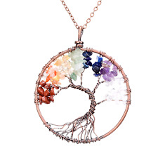 Tree of life pendant Amethyst Rose Crystal Necklace Gemstone Chakra Jewelry Gift