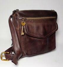 Fossil Brown Leather Shoulder Crossbody Organizer Bag