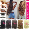 """24"""" #27 Synthetic Fiber Curly Wavy 130g 6Clip-In Cap Wig Hairpieces Soft Hair"""