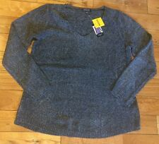 Nwt Women's Spense Knits Heather Black L/S Vneck Sweater Size LARGE L