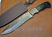 """DA17 ~ 12"""" CUSTOM HANDMADE HRC DAMASCUS HUNTING KNIFE / BUFFALO HORN HANDLE -USA"""