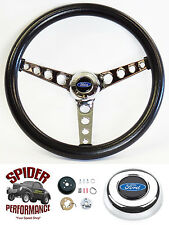 "78-91 Bronco F-150 F-250 F-350 steering wheel BLUE OVAL 14 1/2"" CLASSIC CHROME"