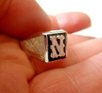 VINTAGE NEW Sterling Silver 7gr 925 Letter N Genuine ONYX Stone Ring sz 9.5