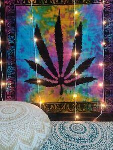 "Marijuana Leaf Poster Cannabis Hippie Art Decor Tapestry Wall Hanging 54"" x 60"""