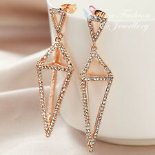18K Rose Gold Plated Simulated Diamond Studded Fashion Diamond Shaped Earrings
