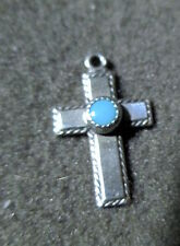 Estate 50s-60s Ster CHARM PENDANT: SW CHRISTIAN rope CROSS Turquoise Cab MAISELS