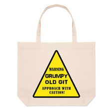 Warning Grumpy Old Git Yellow Large Beach Tote Bag - Dad Fathers Day Funny