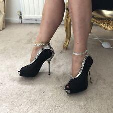 Black Suede & Snakeskin Trim Peep Toe Ankle Strap Court Shoes Silver Spike Heel