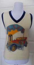 Vintage Sears Acrylic Pullover Top Sleeveless Novelty Old Car Small B33