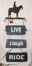 13 x 37 in Western Decor Cowboy Horse Rustic Metal Wall Art LIVE LAUGH RIDE Sign