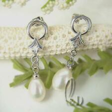 AU SELLER Lovely White Drop Genuine Pearls Earrings 0505-2