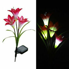 Solar Power 4 LED Lily Flower Night Light Color Changing Garden Path Decoration