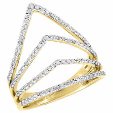 Fashion Right Hand Ring 0.40 Ct. 10K Yellow Gold Diamond Ladies Pointed Contour