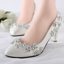 Lace Bling Wedding Formal Bridal Pump High Heels Low Heels flat shoes size 5-12