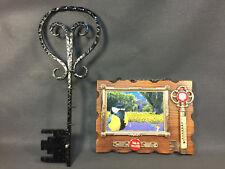 Lot 2 anciens range clés en bois mural thermomètre vintage french antique