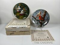 Knowles Encyclopaedia Birds of Your Garden CHICKADEE & CARDINAL Collector Plates
