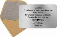 Personalised Grandad Keepsake Card Wallet Insert Birthday Gift Xmas Fathers Day