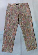 Talbots~Red-Yellow Paisley Print Capris~97% Cotton/3% Spandex~Stretch~Women Sz 4
