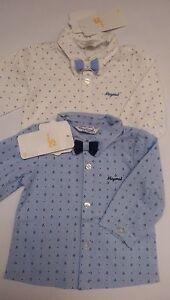 2102 Mayoral Baby Hemd Taufe + Fliege  Neu Gr. 62 - 86 hellblau oder creme weiß
