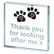 Spaceform Miniature Glass Token Cat Dog Pet Sitting Paw Prints Thank You Gift