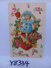 VINTAGE POSTCARD 1900'S TO MY VALENTINES DAY LITTLE GIRL ON HEART W/FLOWERS