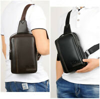 Men Shoulder Bag Leather Messenger Bags Sling Chest Pack Crossbody Bag Briefcase
