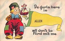"""De Girls Here in"" Allen Michigan~All Vont to Flirt Mit Me~1914 Pennant Postcard"