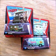 Disney PIXAR Cars 2 FILLMORE & SARGE RACE TEAM diecast lot #14 #15 army jeep van