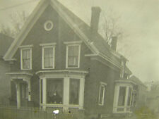 Antique Postcard Photo Victorian House w/ Bay Windows