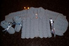 PURE WOOL BOYS CUDDLY JACKET,  BONNET AND BOOTEE'S [ HAND KNITTED ]