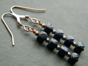 Natural SAPPHIRE Gemstones, Faceted Denim Blue Cubes & Rolled Rose Gold Earrings