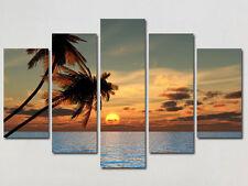 BEAUTIFUL SUNSET LARGE CANVAS PRINTS SET OF 5 (ON FRAME) WALL ART