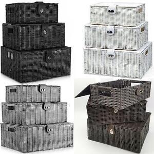Faboer Set of 3 Resin Wicker Woven Storage Baskets Hamper Box With Lid & Lock