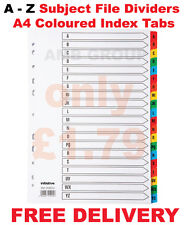 A - Z Premium Subject File Dividers A4 Coloured Index Tabs SAME DAY DISPATCH