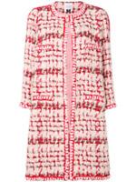 Edward Archour PARIS Red & White Tweed Metallic Boucle Coat Jacket Midlength NWT