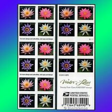 20 Water Lilies US Forever Stamps Booklet USPS Postage Flowers Purple Pink Lilly