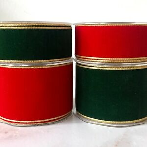 Wired Metallic Edge Velvet Ribbon Double Sided - sold by the metre