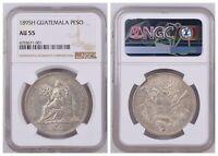NGC Guatemala 1894 H Heaton Mint Un Peso Seated Liberty Silver Coin AU55