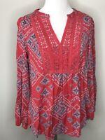 Vintage America Blues Womens Top BoHo Hippie Red Blue Sz Small Shirt Tunic