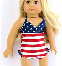 """Patriotic Red, White, Blue Swimsuit Bathing Fits 18"""" American Girl Doll Clothes"""