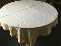 VINTAGE White Damask Square Tablecloth Table Linen Yellow Floral Border 56 X 56""