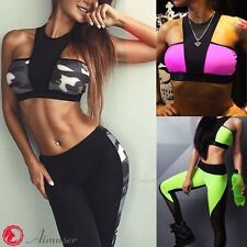 Women Ladies Sports Bras Crop Top Stretched Pants Gym Fitness Yoga Athletic Sets