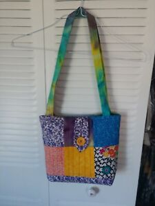 Quilted Tote Bag With  Button Closure