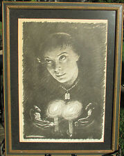 Artur Bar-On Signed-Framed-Vintage lithograph print-Woman W/ Candle Flame-Spell