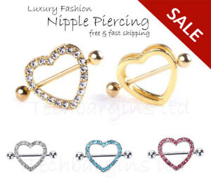 Luxury Heart Double Layer Rhinestone Sexy Piercing Nipple Bars Body Jewelry UK