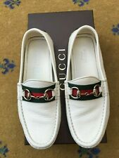 Gucci Womens Shoes White Leather Horsebit Loafer UK 2 US 5 35 Ladies Driver Web